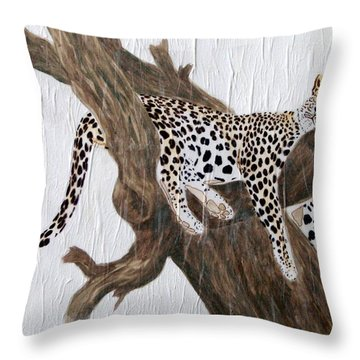Throw Pillow featuring the painting Tuckered Out by Stephanie Grant