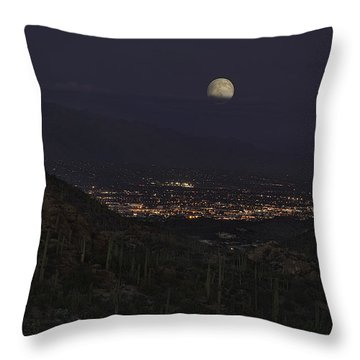 Throw Pillow featuring the photograph Tucson At Dusk by Lynn Geoffroy