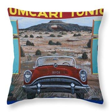 Tucumcari Tonight Mural On Route 66 Throw Pillow by Carol Leigh