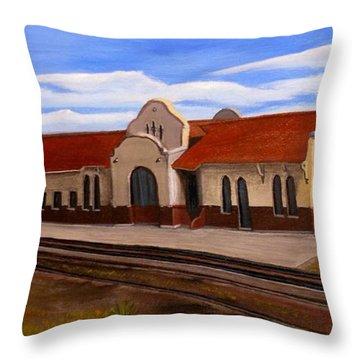 Tucumcari Train Depot Throw Pillow