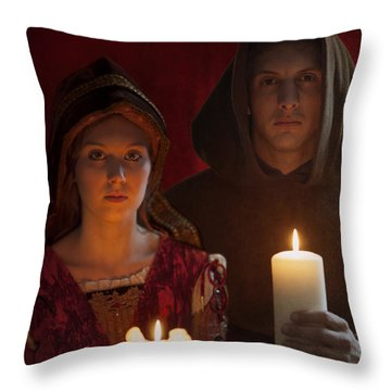 Tudor Medieval Young Attractive Couple  Holding  Candles Throw Pillow by Lee Avison
