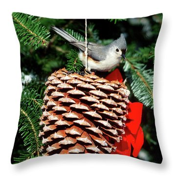 Tufted Titmouse Throw Pillows
