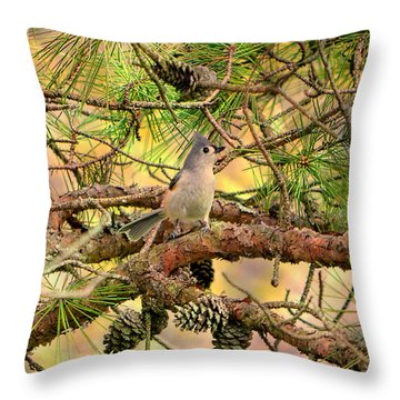 Tufted Titmouse Throw Pillow by Deena Stoddard