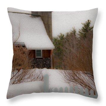 Tuftonboro Farm In Snow Throw Pillow