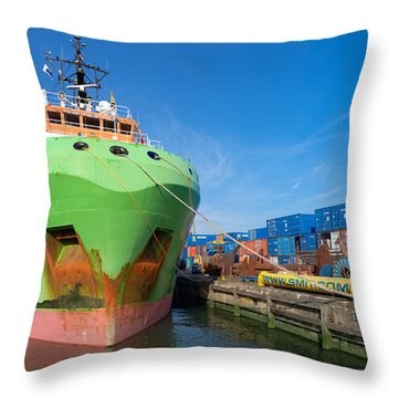Tug Boat In Rotterdam Harbor Throw Pillow