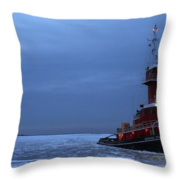 Tug Boat Port Jefferson New York Throw Pillow by Bob Savage
