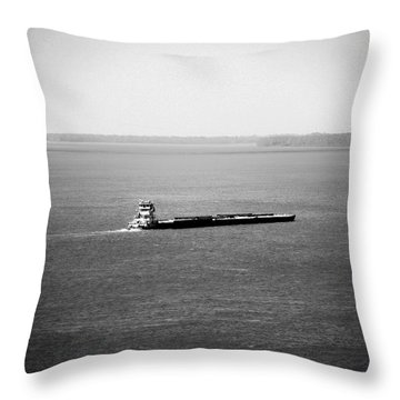 Tug Boating Up The Mississippi River Throw Pillow