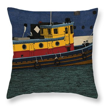 Throw Pillow featuring the drawing Tug by Meg Shearer