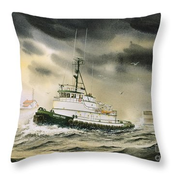 Tugboat Agnes Foss Throw Pillow by James Williamson