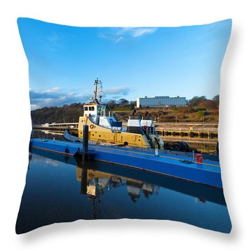 Tugboat Moored At The River Suir Throw Pillow