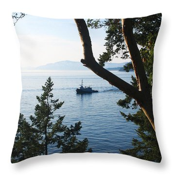 Tugboat Passes Throw Pillow by Lorraine Devon Wilke