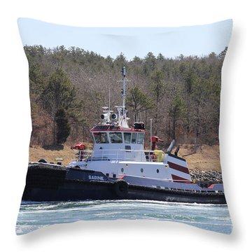 Tugboat Sabine From Port Arthur Texas Throw Pillow