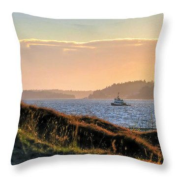 Tugboat Twilight - Chambers Bay Golf Course Throw Pillow