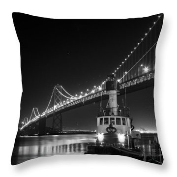 Tugboat Under The Bay Bridge Throw Pillow