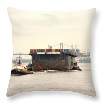 Tugboats Towing Upriver Throw Pillow