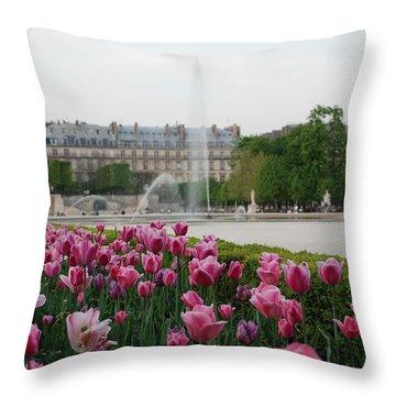 Tuileries Garden In Bloom Throw Pillow by Jennifer Ancker