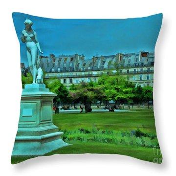 Tuileries Gardens Throw Pillow by Allen Beatty