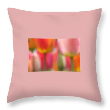 Tulip Abstract Throw Pillow by Angela Davies