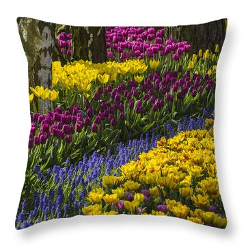 Tulip Beds Throw Pillow by Sonya Lang