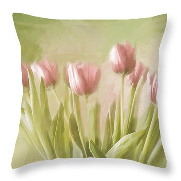 Throw Pillow featuring the painting Tulip Bouquet by Linda Blair