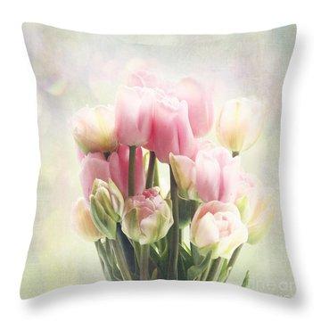Tulip Bouquet Throw Pillow by Sylvia Cook