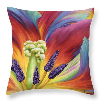 Throw Pillow featuring the painting Tulip Color Study by Jane Girardot