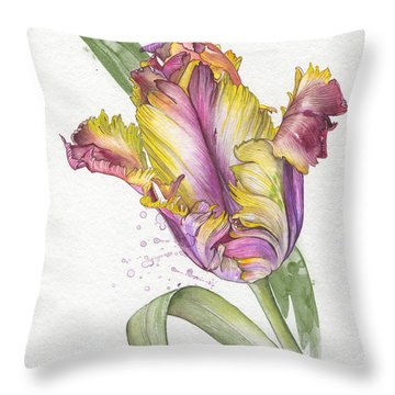 Throw Pillow featuring the painting Tulip -  Elena Yakubovich by Elena Yakubovich
