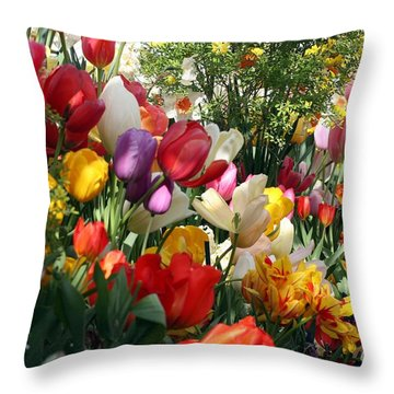 Throw Pillow featuring the photograph Tulip Festival by Mary Lou Chmura