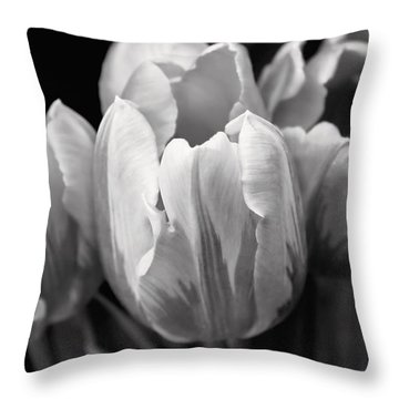 Tulip Flowers Black And White Throw Pillow