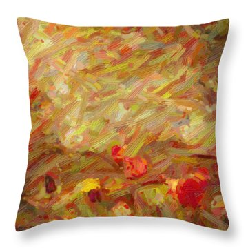 Tulip Garden Abstract Throw Pillow by Kenny Francis