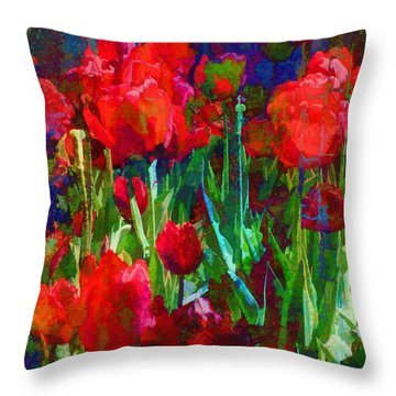 Tulip Jubilee Throw Pillow by Kathleen Holley