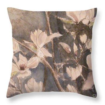 Tulip Magnolias Throw Pillow by Nancy Kane Chapman