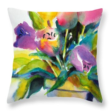 Throw Pillow featuring the painting Tulip Pot by Kathy Braud