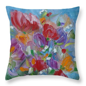 Throw Pillow featuring the painting Tulip Symphony by Judith Rhue