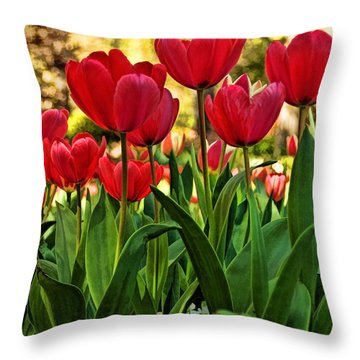 Tulip Time Throw Pillow by Peggy Hughes