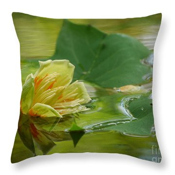 Tulip Tree Flower Throw Pillow