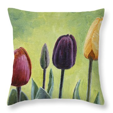 Tulip Trio Throw Pillow by Crista Forest