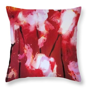 Throw Pillow featuring the painting Tulip Twist by Sandra Strohschein
