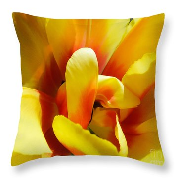 Throw Pillow featuring the photograph Tulip Unfolding by Kristen Fox