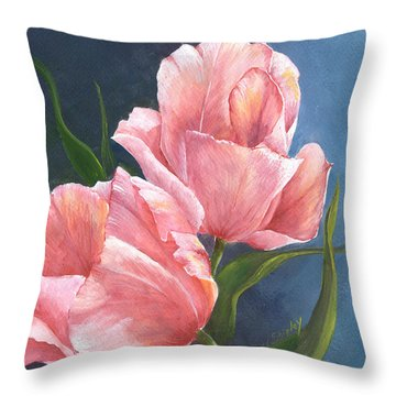 Throw Pillow featuring the painting Tulip Waltz by Sherry Shipley