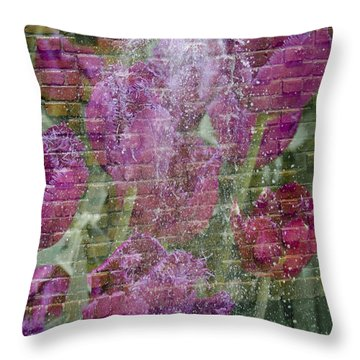 Tulip Waterfalls Throw Pillow by Penny Lisowski