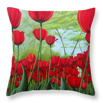 Tulipanes  Throw Pillow by Angel Ortiz