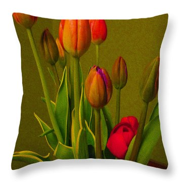 Tulips Against Green Throw Pillow