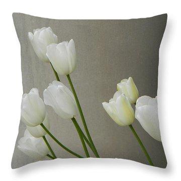 Tulips Against Pillar Throw Pillow