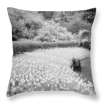 Tulips And Bench II Throw Pillow