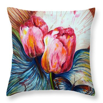Tulips And Butterflies Throw Pillow by Harsh Malik