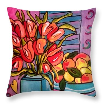 Tulips And Fruit Throw Pillow