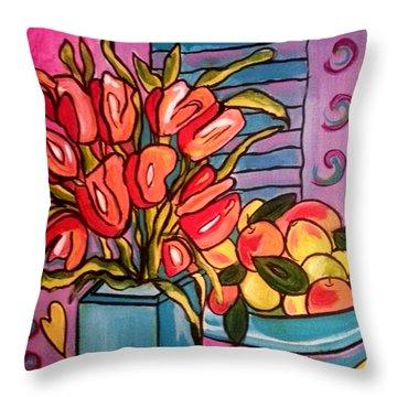 Tulips And Fruit Throw Pillow