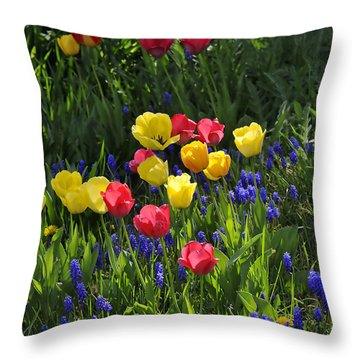 Tulips And Grape Hyacinths Throw Pillow