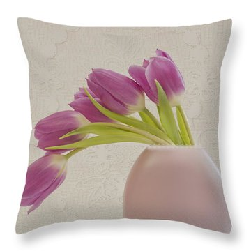 Throw Pillow featuring the photograph Tulips And Lace by Sandra Foster